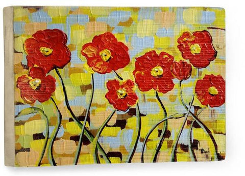 Ruby Poppies Wood Sign 12x16 Planked