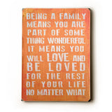 Being A Family - Coral Wood Sign 14x20 (36cm x 51cm) Planked