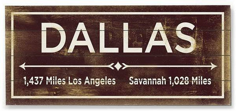 Dallas Wood Sign 10x24 (26cm x61cm) Planked