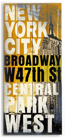 New York City Wood Sign 10x24 (26cm x61cm) Planked