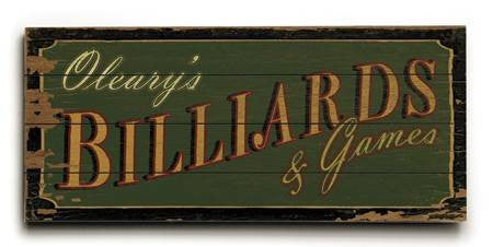 0003-2497-Billiards Wood Sign 10x24 (26cm x61cm) Planked