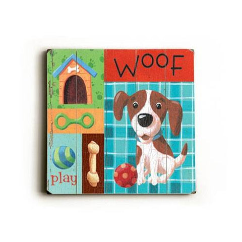 Woof Wood Sign 13x13 Planked