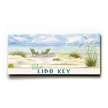 Lido Key Wood Sign 10x24 (26cm x61cm) Planked