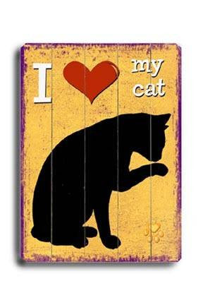 I (heart) my cat Wood Sign 12x16 Planked