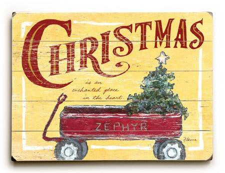 0003-0944-Christmas Wagon Wood Sign 14x20 (36cm x 51cm) Planked