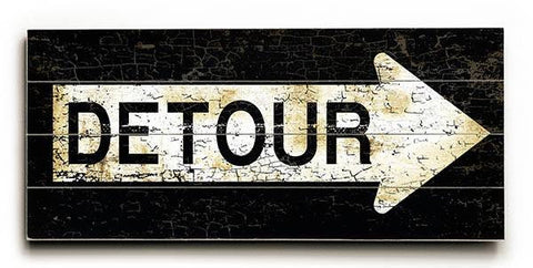 Detour Wood Sign 10x24 (26cm x61cm) Planked