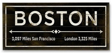 Boston Wood Sign 12x16 Planked
