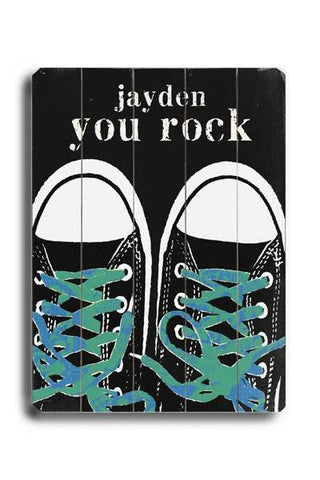 You Rock - Green Blue Laces Wood Sign 14x20 (36cm x 51cm) Planked