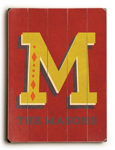 Alphabet - M Wood Sign 14x20 (36cm x 51cm) Planked
