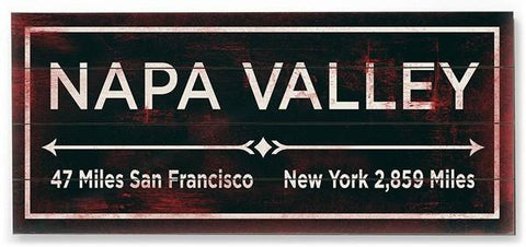 Napa Valley Wood Sign 10x24 (26cm x61cm) Planked