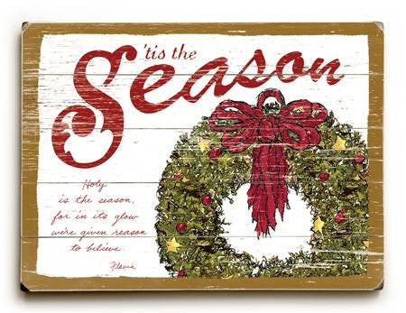 0003-0948-Tis the Season Wood Sign 9x12 (23cm x 31cm) Solid