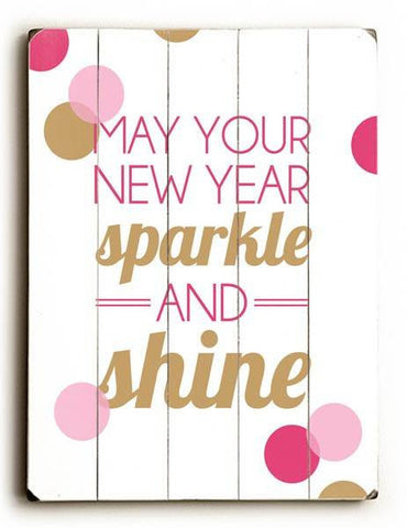 New Years Sparkle Wood Sign 25x34 (64cm x 87cm) Planked