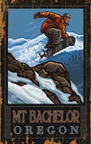 Snowboarder in Flight Wood Sign 14x20 (36cm x 51cm) Planked