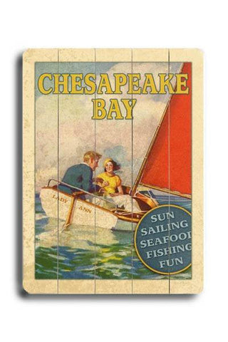 Chesapeake Bay Wood Sign 14x20 (36cm x 51cm) Planked