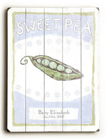 sweet pea Wood Sign 18x24 (46cm x 61cm) Planked