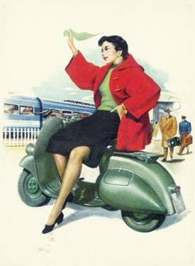 Italian Vespa Piaggio Girl Poster Wood Sign 18x24 (46cm x 61cm) Planked