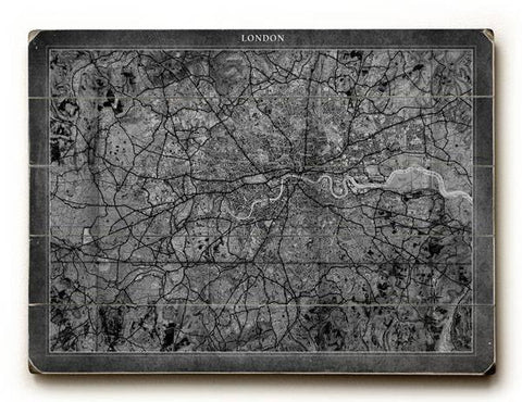 London Map Wood Sign 18x24 (46cm x 61cm) Planked