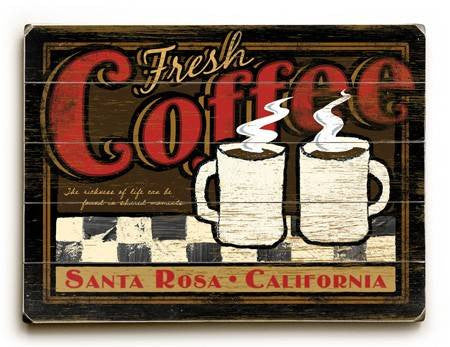 0003-1576-Fresh Coffee Wood Sign 9x12 (23cm x 31cm) Solid