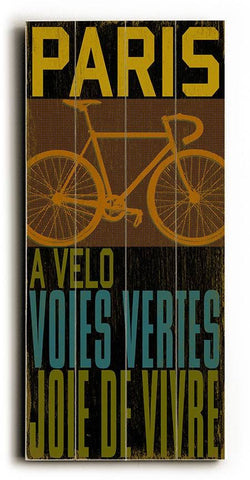 Paris-Cycle Wood Sign 10x24 (26cm x61cm) Planked