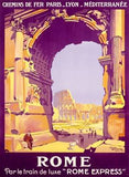 French Railway Travel Rome Express Poster Wood Sign 14x20 (36cm x 51cm) Planked