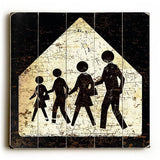 Family Crossing Wood Sign 13x13 Planked