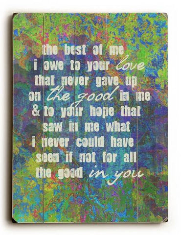 The Best Of Me Wood Sign 12x16 Planked