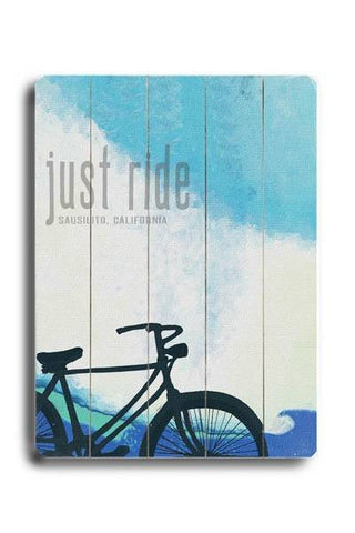 Personalized Just Ride Wood Sign 12x16 Planked