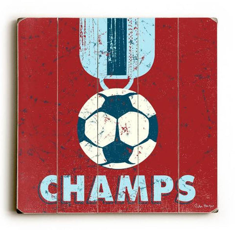 Soccer Champs Wood Sign 30x30 (77cm x 77cm) Planked