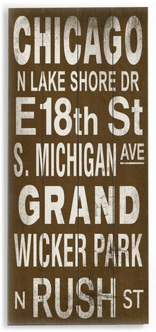 Chicago Wood Sign 10x24 (26cm x61cm) Planked