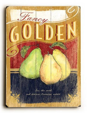 0002-8217-Fancy Golden Pears Wood Sign 18x24 (46cm x 61cm) Planked