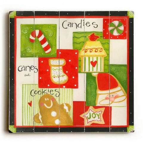 Candies Canes and Cookies Wood Sign 13x13 Planked