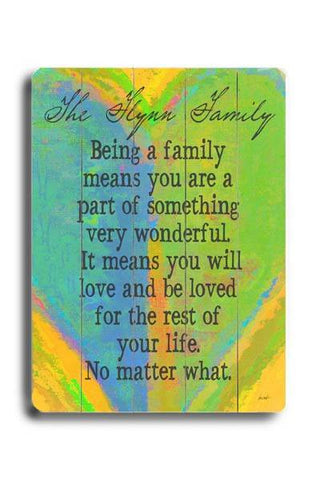 Personalized Being A Family Wood Sign 14x20 (36cm x 51cm) Planked