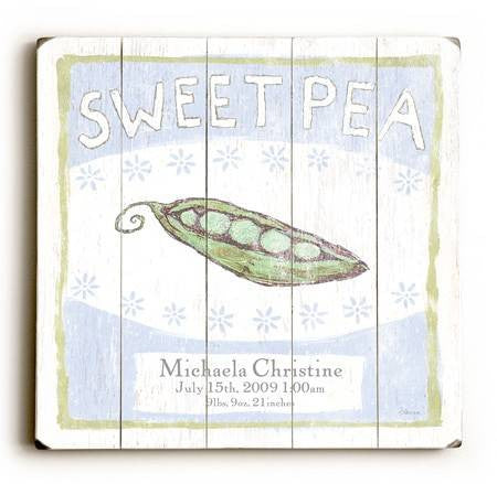 0002-9014-Sweet Pea Wood Sign 30x30 (77cm x 77cm) Planked
