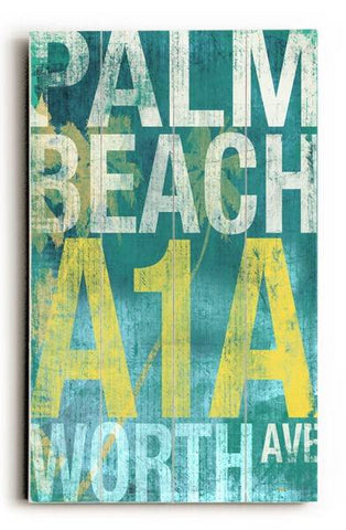 Palm beach Wood Sign 12x16 Planked