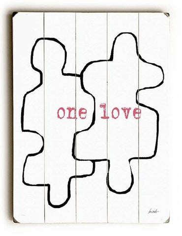 One Love Puzzels Piece Wood Sign 12x16 Planked