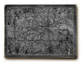 London Map Wood Sign 9x12 (23cm x 31cm) Solid