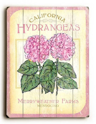 0003-1352-Hydrangeas Wood Sign 12x16 Planked