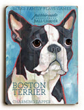 Boston Terrier Wood Sign 14x20 (36cm x 51cm) Planked