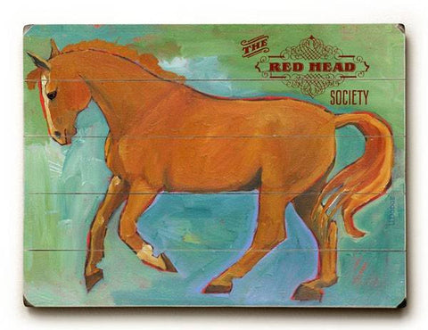 The Red Head Society Wood Sign 12x16 Planked