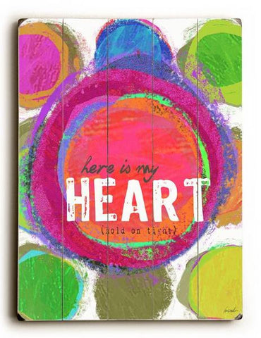 Here Is My Heart Wood Sign 9x12 (23cm x 31cm) Solid