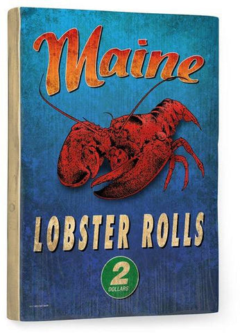 Maine Lobster Wood Sign 12x16 Planked