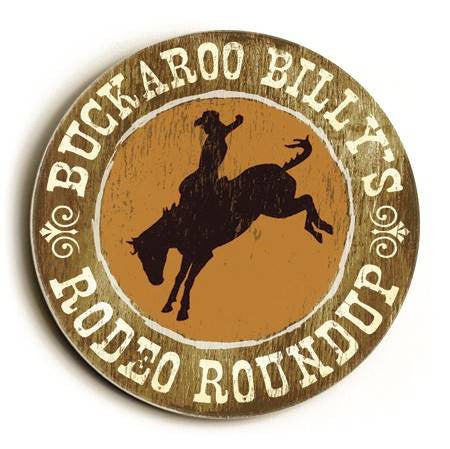 0003-2533-Buckaroo Wood Sign 12x12 (31cm x31cm) Round