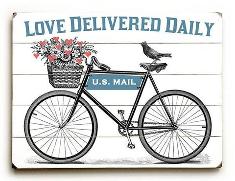Love Delivered Daily Wood Sign 12x16 Planked