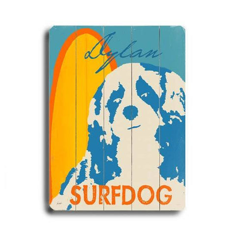 Surfing Dog Wood Sign 18x24 (46cm x 61cm) Planked