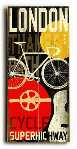London-MusCycle III Wood Sign 10x24 (26cm x61cm) Planked