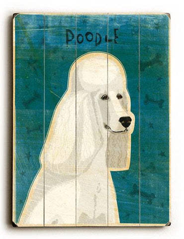 Poodle - White Wood Sign 30x40 (77cm x102cm) Planked