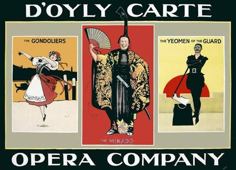 Doyly Carte Opera Company Poster Wood Sign 18x24 (46cm x 61cm) Planked