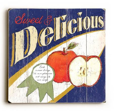 0002-8215-Delicious Apples Wood Sign 18x18 (46cm x46cm) Planked