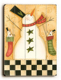 Snowman Stocking Wood Sign 12x16 Planked