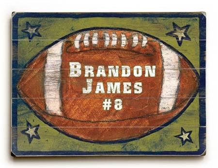 0003-0676-Football Wood Sign 9x12 (23cm x 31cm) Solid